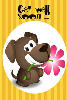"""""""Get well soon puppy"""" printable card. Customize, add text and photos. print for free!"""