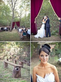 love the idea of the curtains hung from 2 trees to make a beautiful entrance for the bride :)