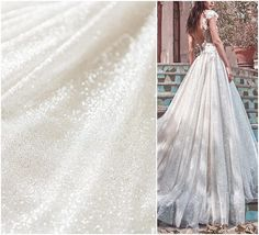 Beautiful Off-white glitter tulle fabric for wedding dresses like Galia Lahav Liliya dress The glitter fabric has one of the best qualities that is available on the market. Its very soft and flowy. ❀❀ SAMPLE SWATCHES❀❀ If you want to check the color and quality, you can order a swatch