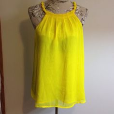 🆕 Bright Yellow Summer Top M Braided around top. Buttons top back with peep hole. Lined. a.n.a Tops