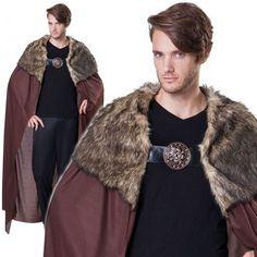 Deluxe Adults Brown Medieval Cloak Game of Thrones Viking Cape Fur Fancy Dress | eBay
