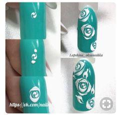 nails Granola granola kitchens inc Rose Nail Art, Floral Nail Art, White Nail Art, Rose Nails, Flower Nails, Acrylic Nail Designs Glitter, Gel Nail Art Designs, Nail Art Designs Videos, Acrylic Nails