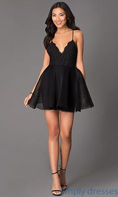 Short V-Neck Scalloped Lace Fit and Flare Dress
