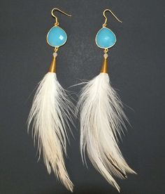 Lakota Princess Blue Chalcedony Natural Feather Earrings with Vermeil Gold