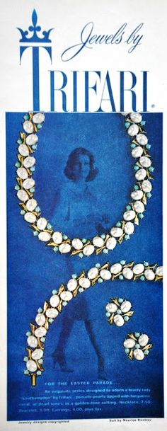 Vintage or retro photography, postcards, ads or other nostalgic finds. Jewellery Advertising, Jewelry Ads, Jewelry Stand, Jewelry Shop, Pendant Jewelry, Gemstone Jewelry, Beaded Jewelry, Vintage Costume Jewelry, Vintage Costumes