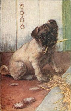 Vintage Pug illustration Dog And Cat Images, Pet Dogs, Dogs And Puppies, Pug Illustration, Old Pug, Pug Pictures, Pug Photos, Dog Artwork, Cute Pugs