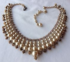 Vintage Miriam Haskell Signed Rhinestone and Dangling Pearl Egyptian Necklace