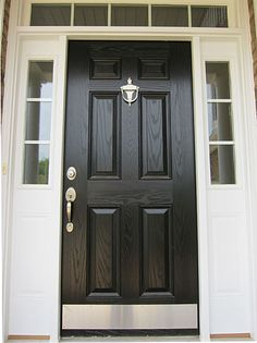 Front Door Paint Colors - Want a quick makeover? Paint your front door a different color. Here a pretty front door color ideas to improve your home's curb appeal and add more style! The Doors, Entry Doors, Windows And Doors, Entrance, Garage Doors, Front Door Paint Colors, Painted Front Doors, Welcome Signs Front Door, Front Door Decor