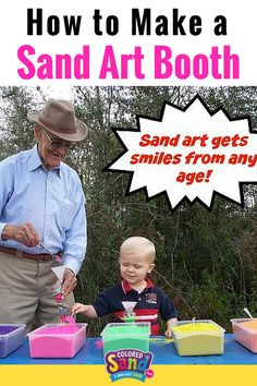 Here's everything you need to set up your own colored sand art booth kit. Sand art is a great activity for children! These can be used at birthday parties, summer camp, Vacation Bible School, themed parties, craft fairs and more!