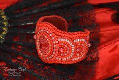 beaded cuff bracelet adjustable red