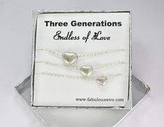 Grandmother Mother Daughter Heart Necklace Set, Family Jewelry, Sterling Silver Brushed Matching Heart Necklaces, Generation Jewelry Y076