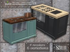 The sims industrial kitchen stove Sims 4 Cc Furniture, Kitchen Furniture, Kitchen Decor, Sims 4 Kitchen, Kitchen Stove, Update Kitchen Cabinets, Kitchen Cabinet Colors, Sims 4 Cc Packs, The Sims 4 Download