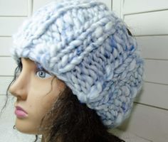 """Chunky Head Band/ Dread Wrap Baby Blue - Hand Spun Art Yarn - Gift for Her - Snow Gear - Adult Size 5 1/2"""" Wide Soft n Warm"""