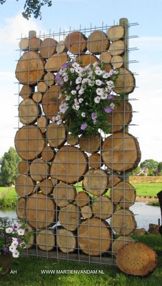 Korven of bouwstaalmatten zijn ook met hout (boomschijven zoals hier) of takken, kokosbasten e. Baskets or structural steel mats can also be filled with wood (tree discs as here) or branches, coconut barkers and the like. Outdoor Projects, Garden Projects, Wood Projects, Vertical Gardens, Wood Tree, Dream Garden, Diy Garden, Wood Garden Edging, Garden Mesh