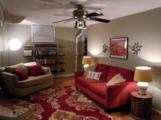 Furniture, Sophisticated Ceiling Fan Lighting Over Cool Fabric Modern Living Red Sofa Over Red Floral Carpet And Open Shelves Cabinetry In G...
