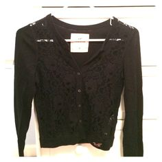 Hollister Sweater Navy blue lace button down sweater. Soft, light cardigan that pairs great with a fashion scarf. Hollister Sweaters Cardigans