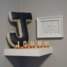 Alphabet Letter Pillow, Crochet Edging & Faux Leather, One Made To Order House Design Photos, Letter J, Kidsroom, Before Christmas, Joyful, Accent Pillows, Vegan Leather, Knit Crochet, Alphabet