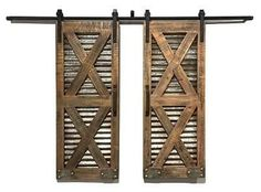 Bring rustic charm into any space with these corrugated tin and barn wood indoor window shutters - October 12 2019 at Barn Style Sliding Doors, Interior Sliding Barn Doors, Interior Windows, Sliding Barn Door Hardware, Front Doors, Entry Doors, Panel Doors, Door Latches, Rustic Hardware