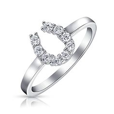 fbfcd755c Bling Jewelry Sterling Silver Colorless Pave CZ Horseshoe Ring Horseshoe  Motif Clear CZ Ring Stone: W Material: Sterling Silver, Cubic Zirconia  Measure: ...