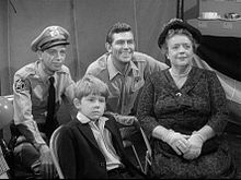 Barney Fife (Don Knotts), Opie Taylor (Ronnie Howard), Andy Taylor (Andy Griffith) and Aunt Bee (Frances Bavier)