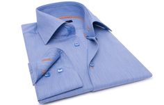 Blue Shirt Orange Lining (NON IRON), Waisted-fit - Dress Shirts for Men - French-Shirts.com $89.90
