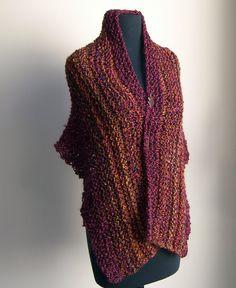 Hand Knit Shoulder Shawl Scarf Cowl Wrap, Stylish Comfort Prayer Meditation, Autumn Blush Multicolor