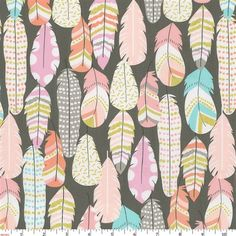 Blush Pink And Silver Gray Hand Drawn Feathers Fabric By The Yard