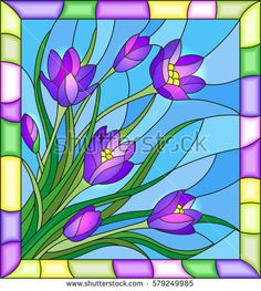 Illustration in stained glass style with a bouquet of tulips on a blue background in the frame