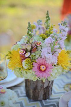 button floral centerpieces by Dream Designs Florist http://www.weddingchicks.com/2013/08/20/button-wedding-inspiration/ #flowers #floristry