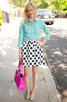Gingham and Polka Dots for a Night Out with the Cousins - Kelly in the City