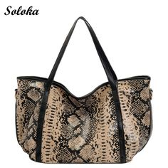 Luxury Serpentine Crossbody Bags for Women 2017 Elegant Designer Ladies Genuine Leather Bag Female Large Tote Bag Python Leather Purses, Leather Handbags, Leather Totes, Leather Bags, Tote Handbags, Python, Leopard Bag, Clutch, Casual Bags