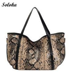 Luxury Serpentine Crossbody Bags for Women 2017 Elegant Designer Ladies Genuine Leather Bag Female Large Tote Bag Python Python, Leopard Bag, Clutch, Casual Bags, Leather Shoulder Bag, Shoulder Bags, Leather Handbags, Leather Totes, Leather Bags