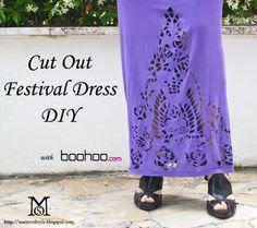 cortar hacia fuera el vestido del festival bricolaje, corte de la camiseta, corte bricolaje tutorial