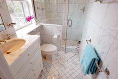 Marble tile bathroom ideas new bathroom design marble tile bathroom modern vanity small marble bathroom ideas Marble Tile Bathroom, Mold In Bathroom, Laundry In Bathroom, Bathroom Flooring, Marble Tiles, Tile Bathrooms, Condo Bathroom, Shower Tiles, Frameless Shower