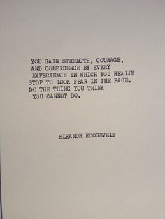 THE ROOSEVELT:  Typewriter quote on 5x7 cardstock