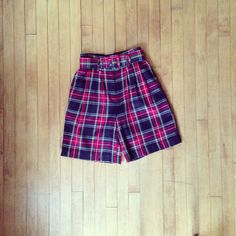 Vintage 1990's high waist PLAID shorts size 4 on Etsy, $30.00