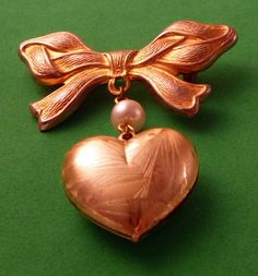 Puffy Heart  dangle ribbon  Bow pin brooch by Vintageday on Etsy, $12.00