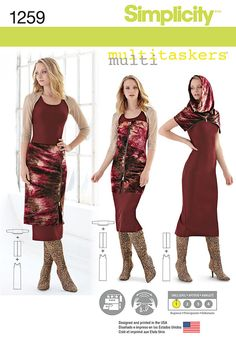 misses' easy knit pieces include tank dress, shrug, zip-channel. designer suggests using zip-channel as skirt, strapless top, hood, or collar. multitaskers for simplicity.