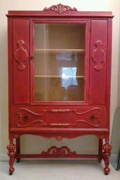 Red colored china cabinet | Restored to Beautiful