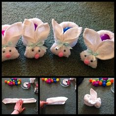 All you will need is a regular face cloth, rubber band, googly eyes, ribbon, small fuzzy pink balls for the nose, white fuzzy ball for the tail and white glue.