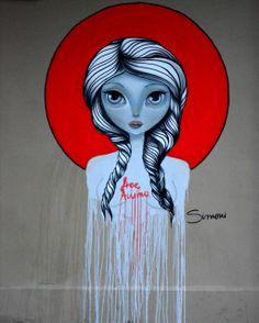 Simoni - Street artist - Thessaloniki - Athens Street Art Love, Urban Street Art, Amazing Street Art, Fantastic Art, Awesome Art, Urban Art, Cool Art, Love Graffiti, Street Art Graffiti