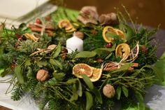 natural christmas wreath - oranges, cinnamon,  nuts,  cranberries