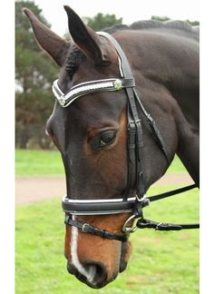 Amanda Ross Range Flexi-Fit Gel English Leather Mix & Match Bridle Black, White Stitching with Stainless Steel Fittings - Bridles   Flexible Fit Equestrian