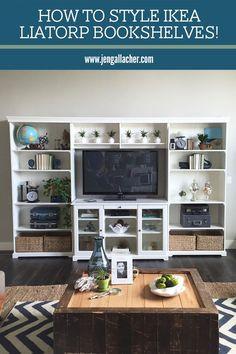 How to style a bookshelf by www.jengallacher.com. Liatorp Bookshelf and Entertainemtn Center from Ikea. #shelfie #bookshelves #stylingashelf