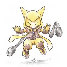 Abra in an Alakazam onsie by ~BirdychuArt on deviantART