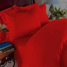 Elegant Comfort 1500 Thread Count Egyptian Quality Super Soft Wrinkle Free 4-Piece Sheet Set, Full, Red Elegant Comfort
