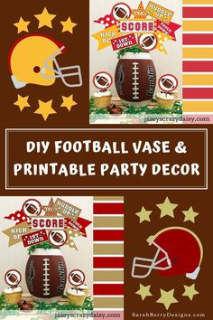 This fun tutorial shows how to create winning football party decor Sarah Berry, Big Game, Party Printables, Cupcake Toppers, Easy Diy, Football, Vase, Create, Super Easy