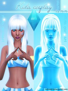 "Kida from Atlantis - BY NANA In this set : hair, eyes 3 color in face mask !, top, skirt, tatoo, necklace. -Don't claim as your own ! -If you use it, please tag ""nolween-sims"" and/or link my tumblr !..."