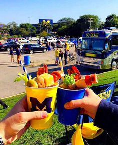 Tailgating is an integral part of the University of Michigan football experience. Check out this how-to guide from a Wolverine superfan. Football Tailgate, Tailgating, Michigan Wolverines Football, University Of Michigan, Fun Events, Ann Arbor, Bloody Mary, Good Mood, Pickles
