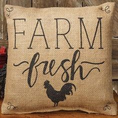 Farmhouse Pillow - Our Farmhouse Pillow is a tan burlap fabric pillow. Farmhouse Pillow - Our Farmhouse Pillow is a tan burlap fabric pillow. Pillow features a sketched pig design and display. Burlap Fabric, Burlap Pillows, Large Pillows, Decorative Pillows, Throw Pillows, Burlap Projects, Burlap Crafts, Country Decor, Farmhouse Decor